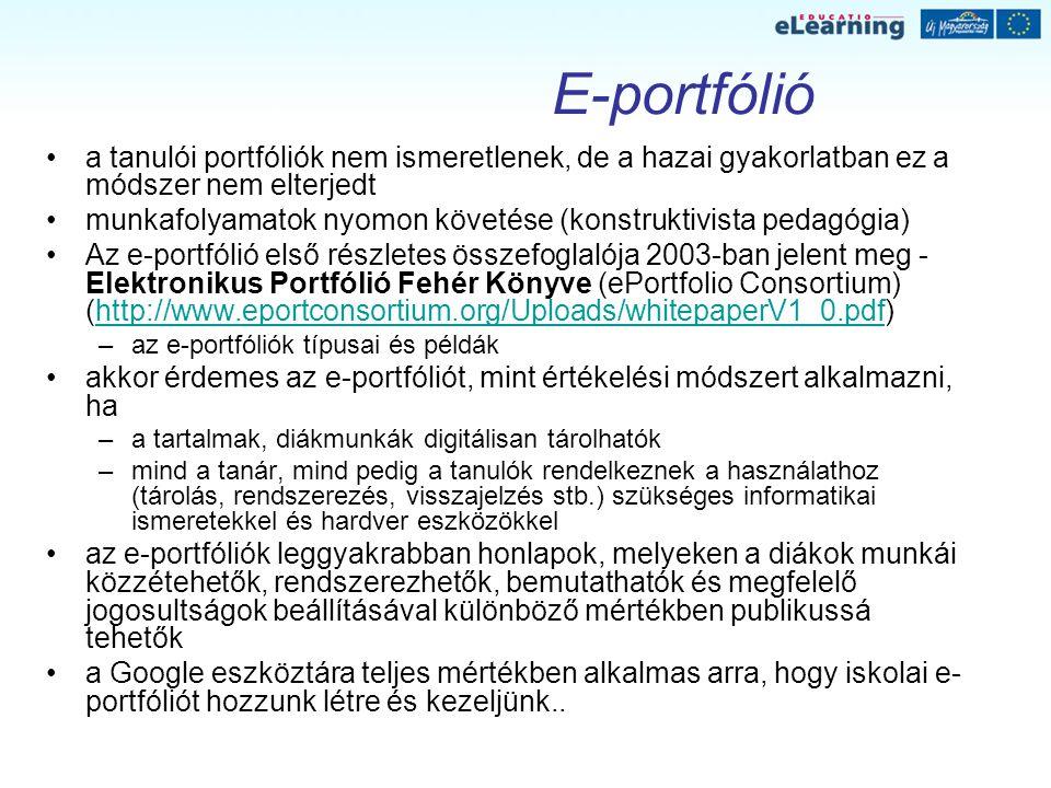 E-portfólió a tanulói portfóliók nem ismeretlenek, de a hazai gyakorlatban ez a módszer nem elterjedt.