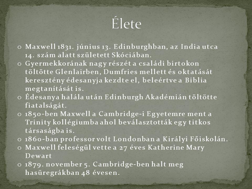 Élete Maxwell 1831. június 13. Edinburghban, az India utca 14. szám alatt született Skóciában.