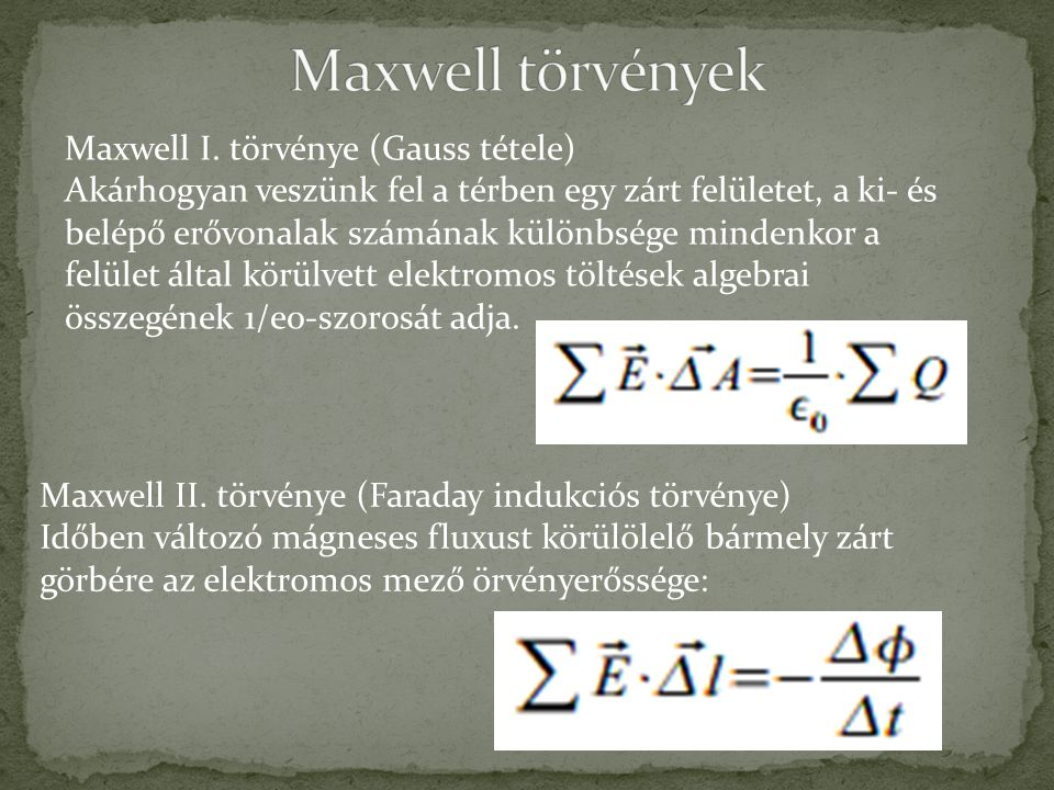 Maxwell törvények Maxwell I. törvénye (Gauss tétele)
