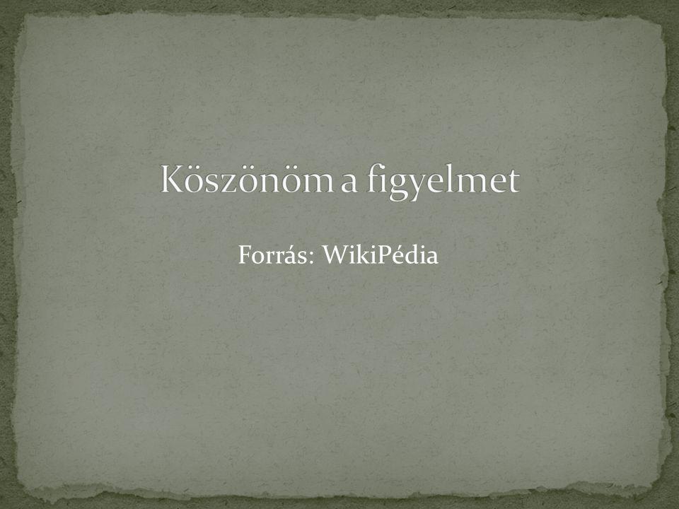 Köszönöm a figyelmet Forrás: WikiPédia