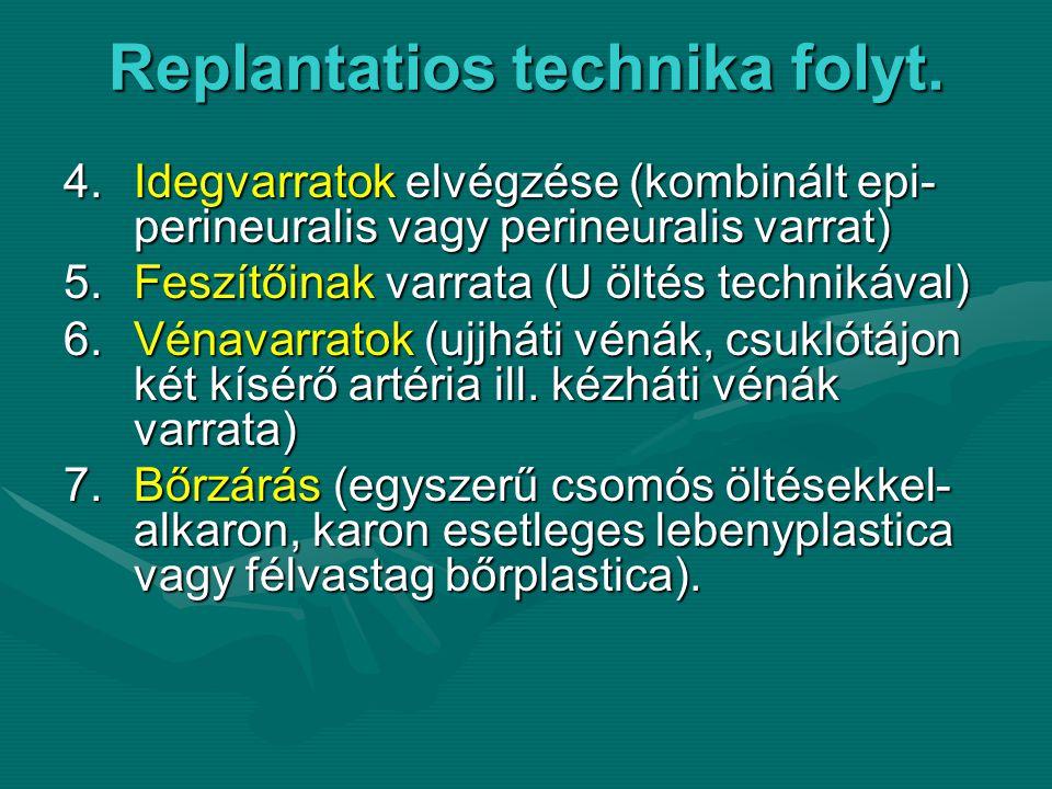 Replantatios technika folyt.