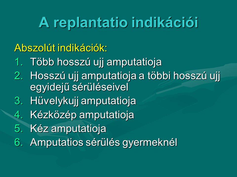A replantatio indikációi