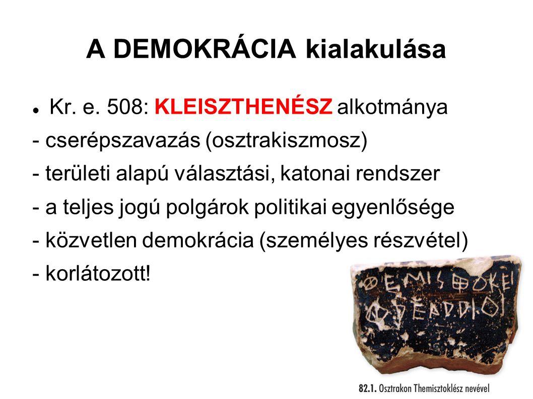 A DEMOKRÁCIA kialakulása