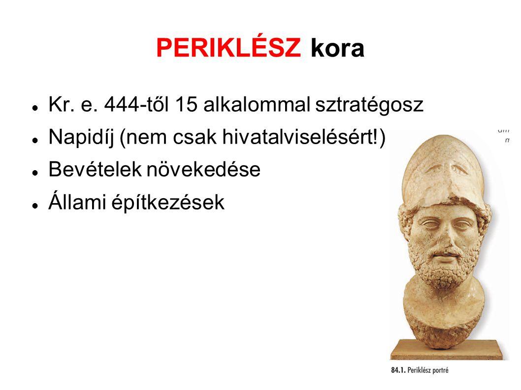 PERIKLÉSZ kora Kr. e. 444-től 15 alkalommal sztratégosz