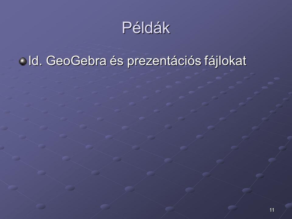 Példák ld. GeoGebra és prezentációs fájlokat