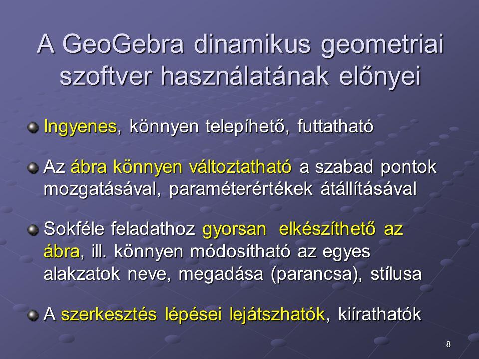 A GeoGebra dinamikus geometriai szoftver használatának előnyei