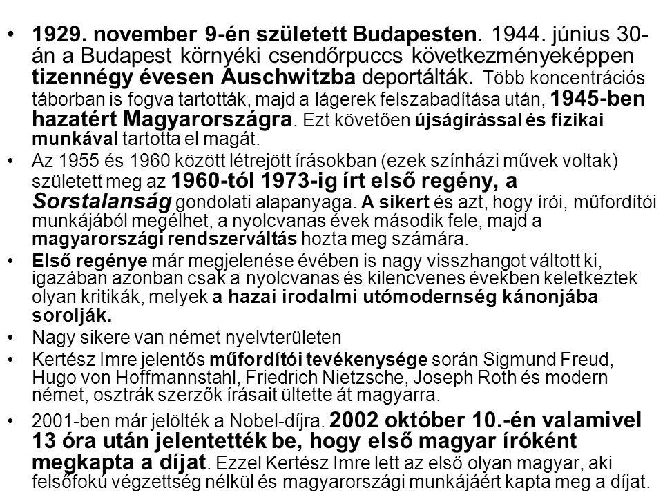 1929. november 9-én született Budapesten. 1944