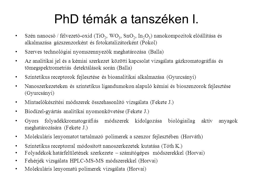 PhD témák a tanszéken I.