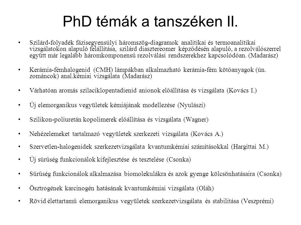 PhD témák a tanszéken II.