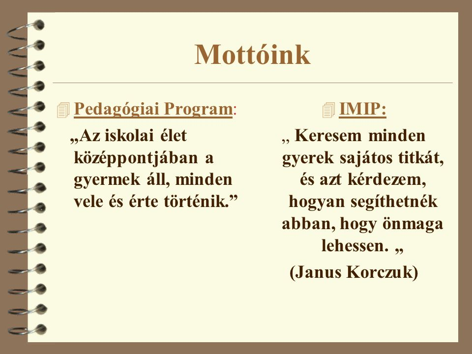 Mottóink Pedagógiai Program: