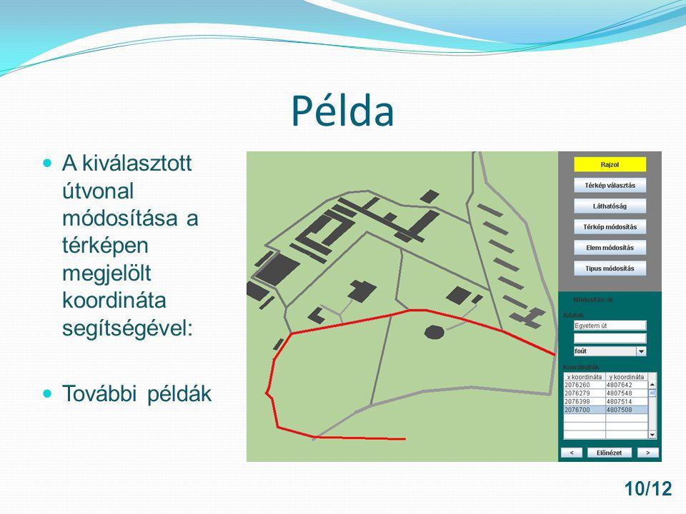 Példa A kiválasztott útvonal módosítása a térképen megjelölt koordináta segítségével: További példák.