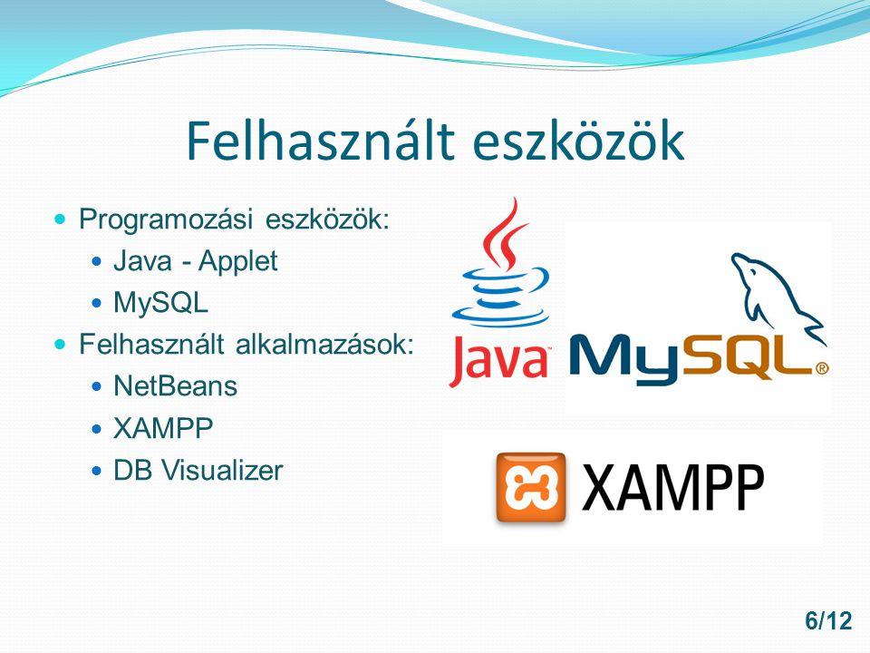 Felhasznált eszközök Programozási eszközök: Java - Applet MySQL