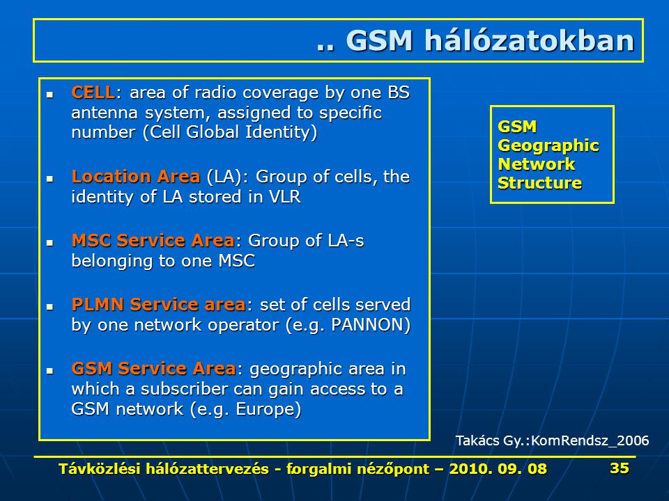 GSM Geographic Network Structure
