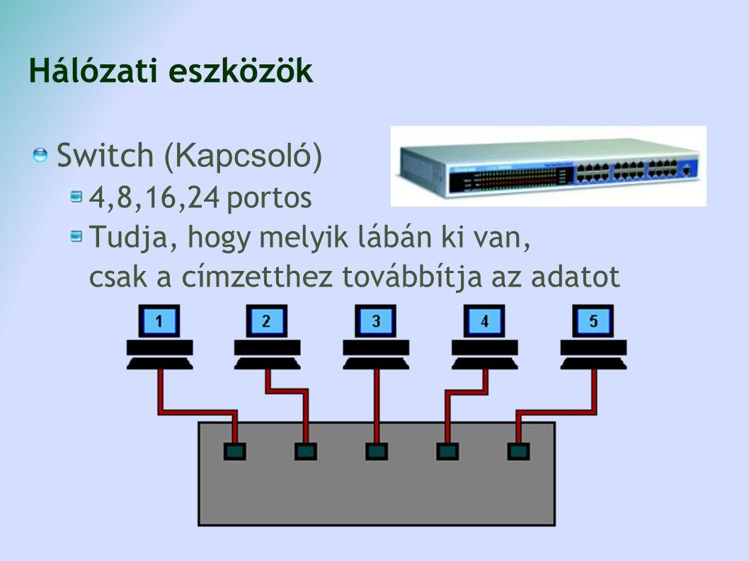 Hálózati eszközök Switch (Kapcsoló) 4,8,16,24 portos