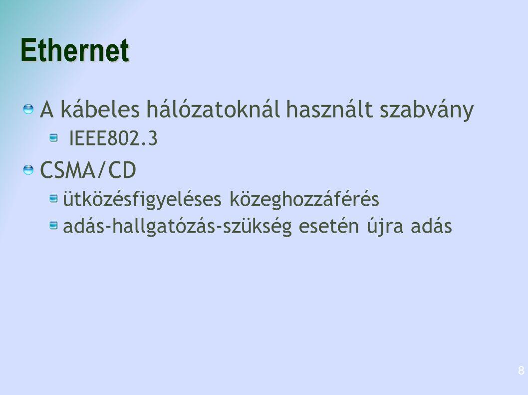 Ethernet A kábeles hálózatoknál használt szabvány CSMA/CD IEEE802.3
