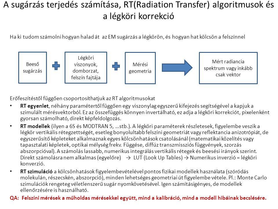 A sugárzás terjedés számítása, RT(Radiation Transfer) algoritmusok és a légköri korrekció