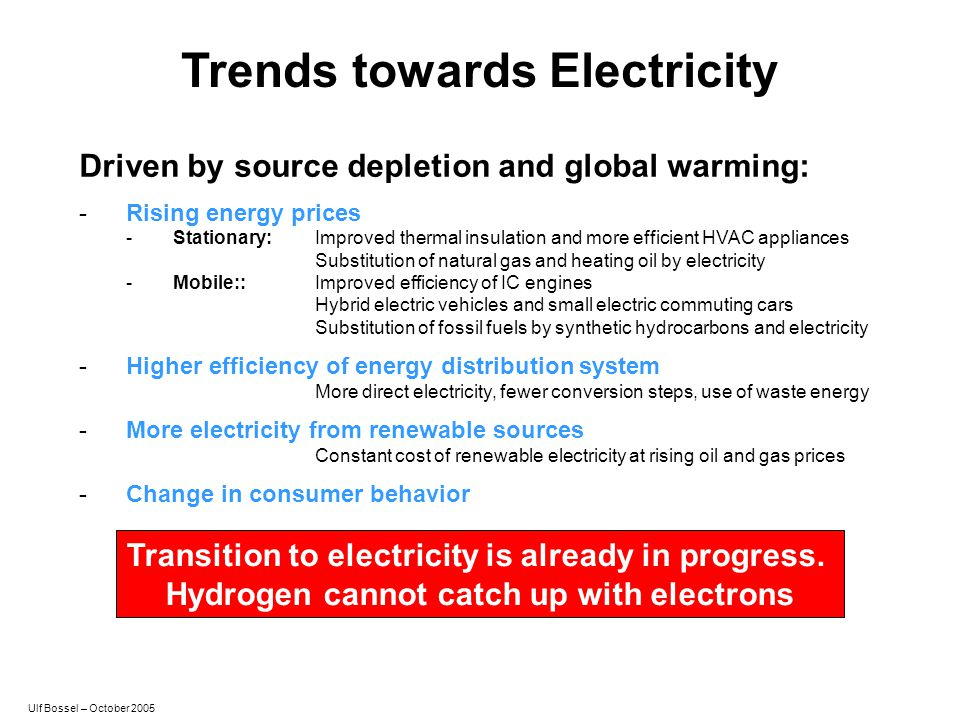 Trends towards Electricity