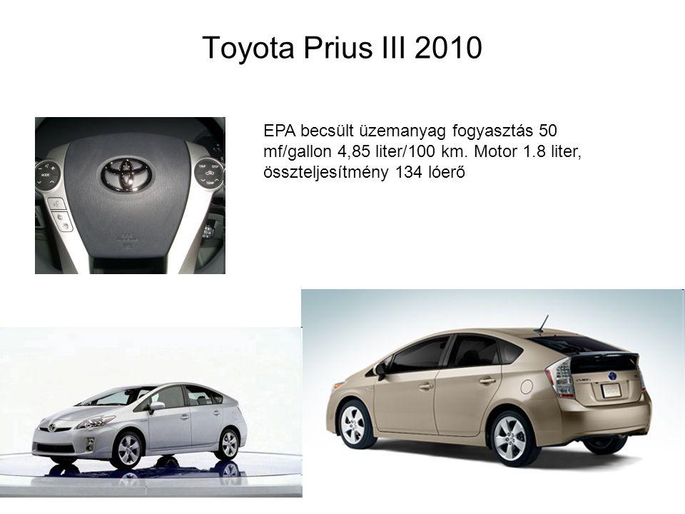 Toyota Prius III 2010 EPA becsült üzemanyag fogyasztás 50 mf/gallon 4,85 liter/100 km.
