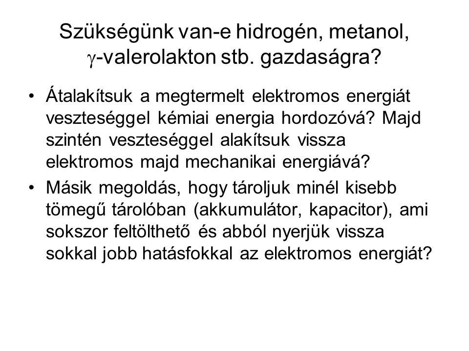 Szükségünk van-e hidrogén, metanol, -valerolakton stb. gazdaságra