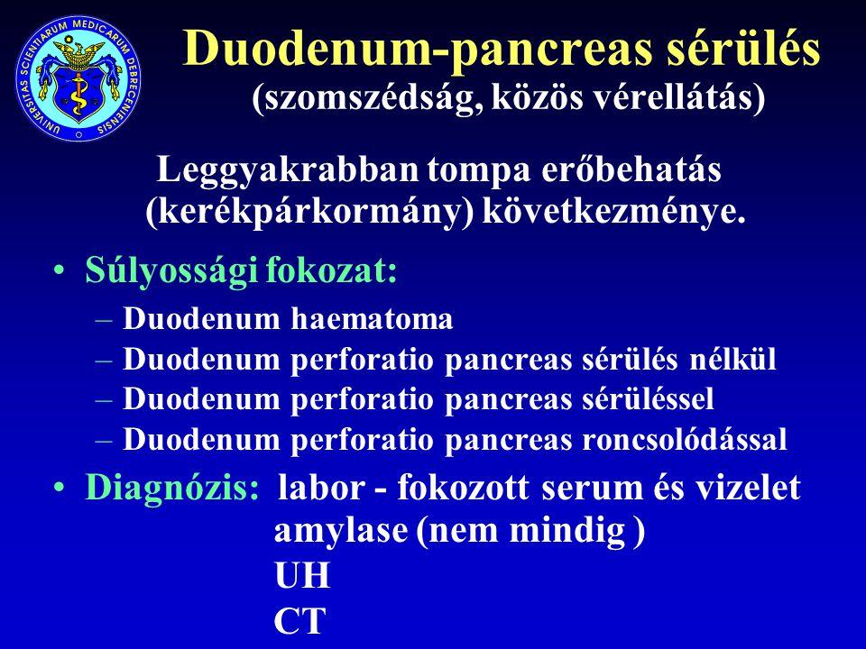 Duodenum-pancreas sérülés (szomszédság, közös vérellátás)