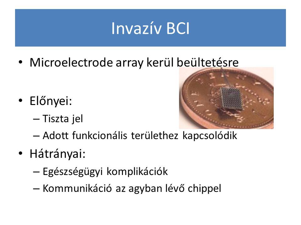 Invazív BCI Microelectrode array kerül beültetésre Előnyei: Hátrányai: