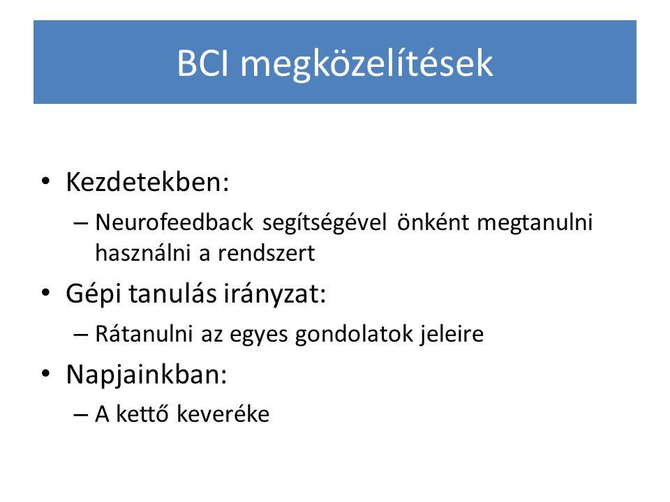 BCI megközelítések Kezdetekben: Gépi tanulás irányzat: Napjainkban: