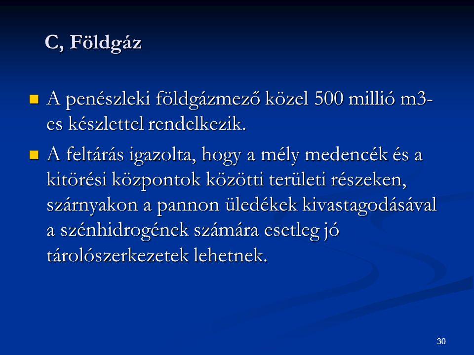 C, Földgáz A penészleki földgázmező közel 500 millió m3-es készlettel rendelkezik.