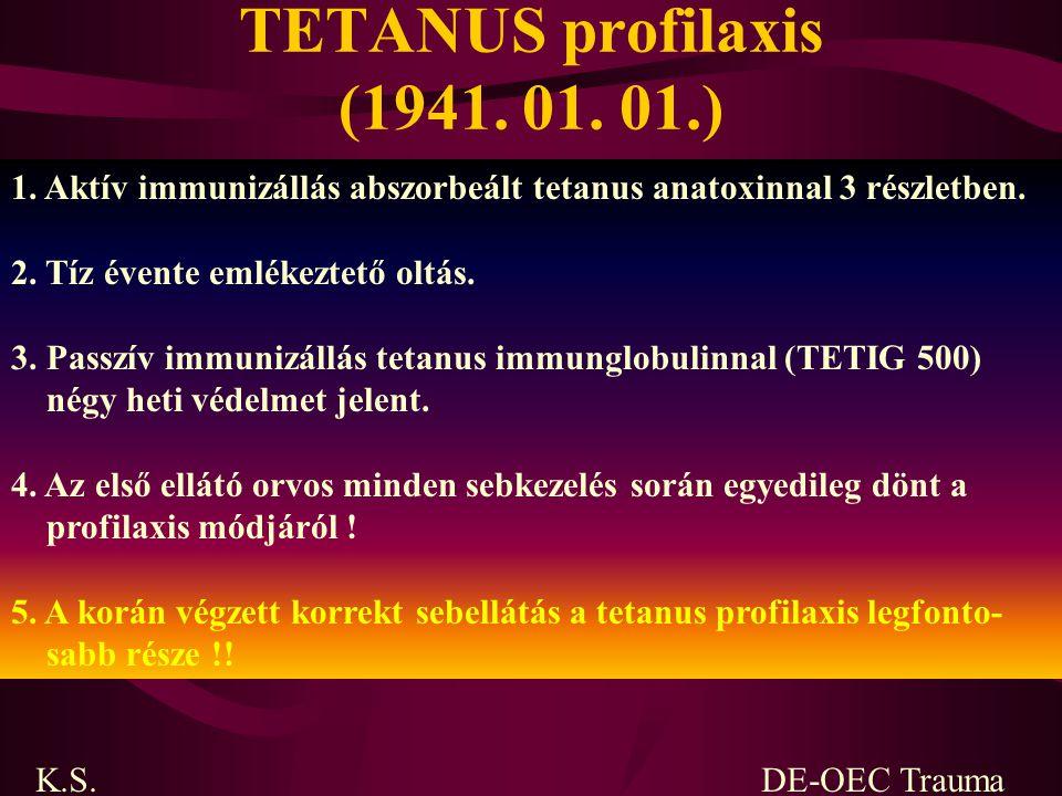 TETANUS profilaxis (1941. 01. 01.) 1. Aktív immunizállás abszorbeált tetanus anatoxinnal 3 részletben.
