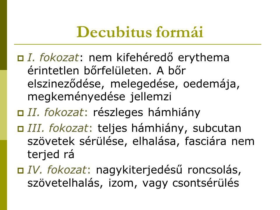 Decubitus formái I. fokozat: nem kifehéredő erythema érintetlen bőrfelületen. A bőr elszineződése, melegedése, oedemája, megkeményedése jellemzi.