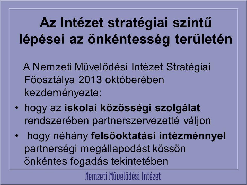 Az Intézet stratégiai szintű lépései az önkéntesség területén