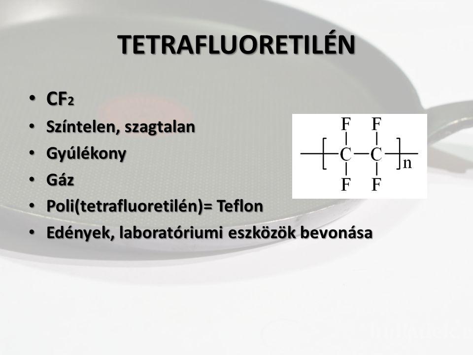 TETRAFLUORETILÉN CF2 Színtelen, szagtalan Gyúlékony Gáz
