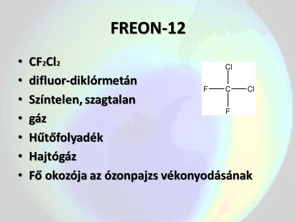 FREON-12 CF2Cl2 difluor-diklórmetán Színtelen, szagtalan gáz