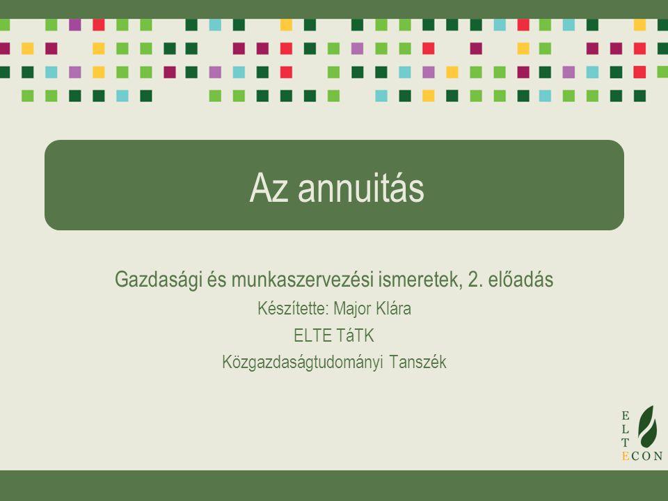 Az annuitás Gazdasági és munkaszervezési ismeretek, 2. előadás