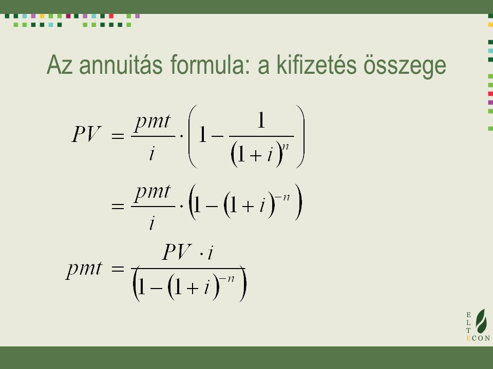 Az annuitás formula: a kifizetés összege