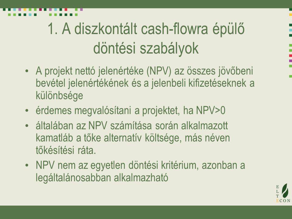 1. A diszkontált cash-flowra épülő döntési szabályok