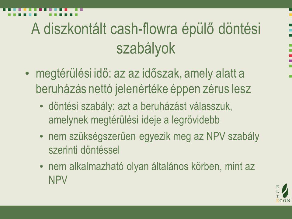 A diszkontált cash-flowra épülő döntési szabályok
