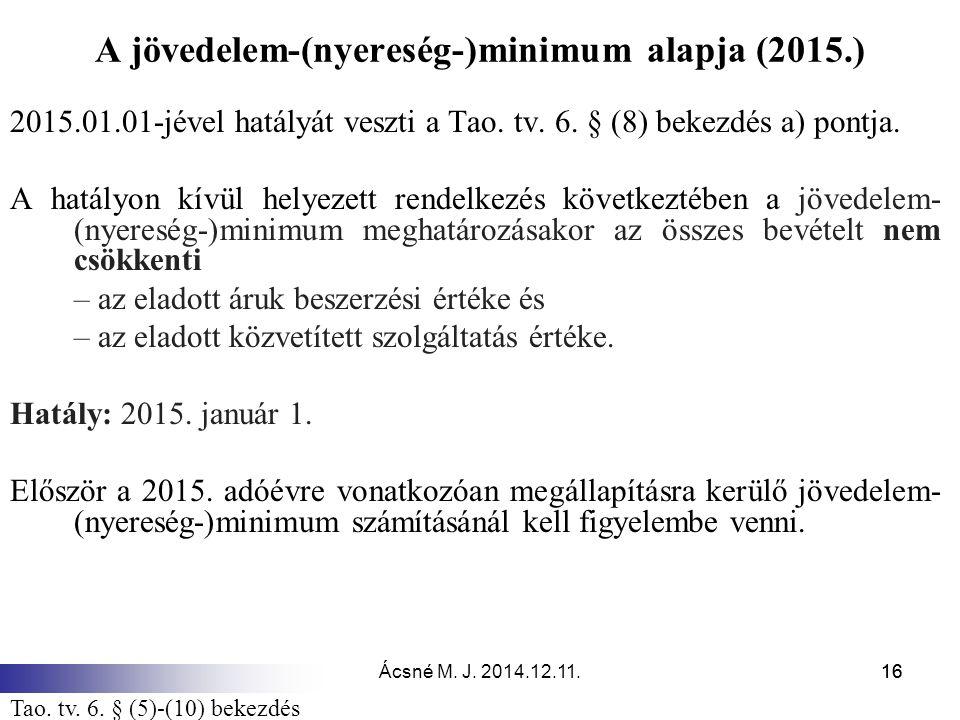 A jövedelem-(nyereség-)minimum alapja (2015.)