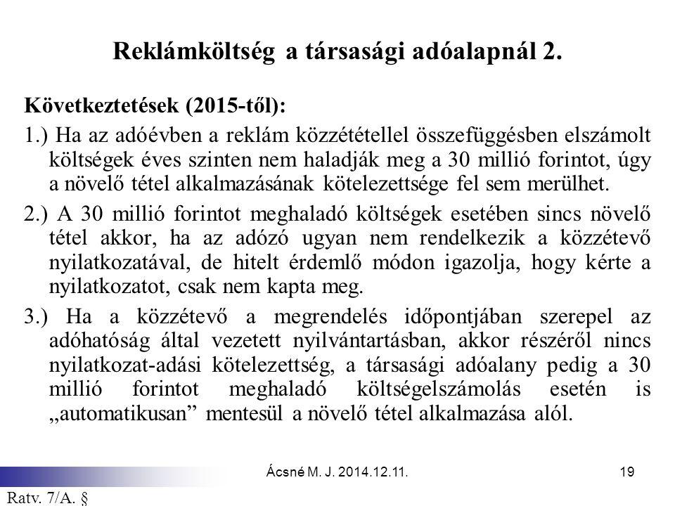 Reklámköltség a társasági adóalapnál 2.