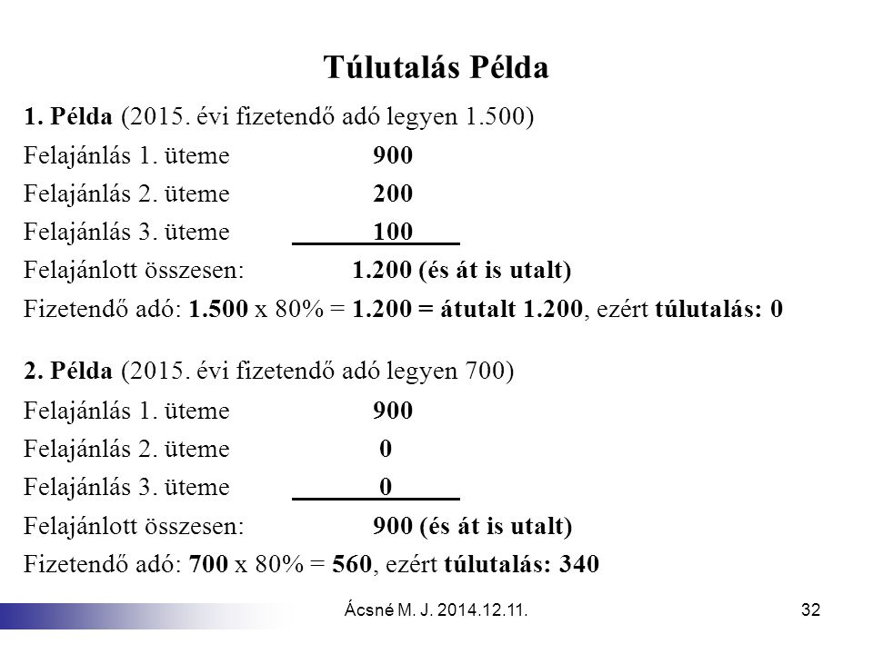 Túlutalás Példa 1. Példa (2015. évi fizetendő adó legyen 1.500)