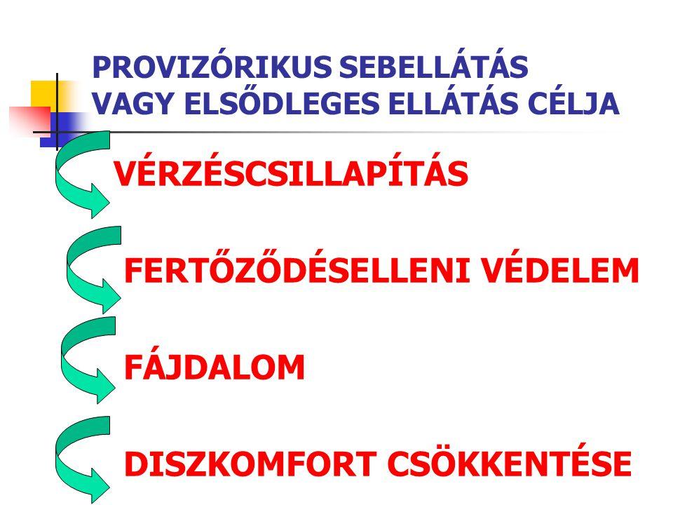 PROVIZÓRIKUS SEBELLÁTÁS VAGY ELSŐDLEGES ELLÁTÁS CÉLJA