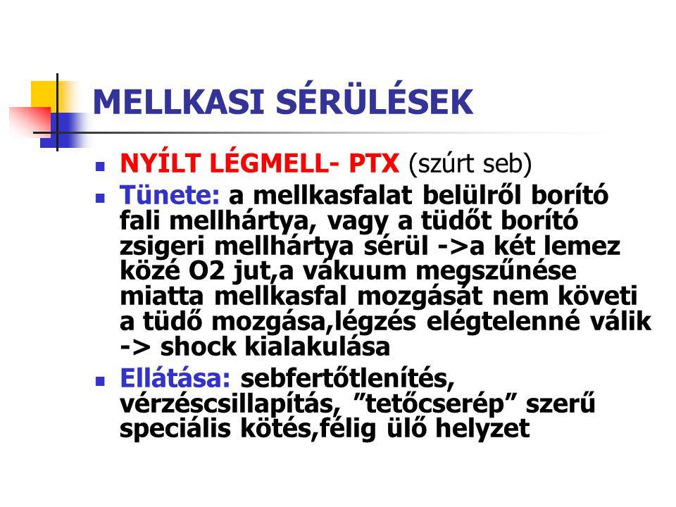 MELLKASI SÉRÜLÉSEK NYÍLT LÉGMELL- PTX (szúrt seb)