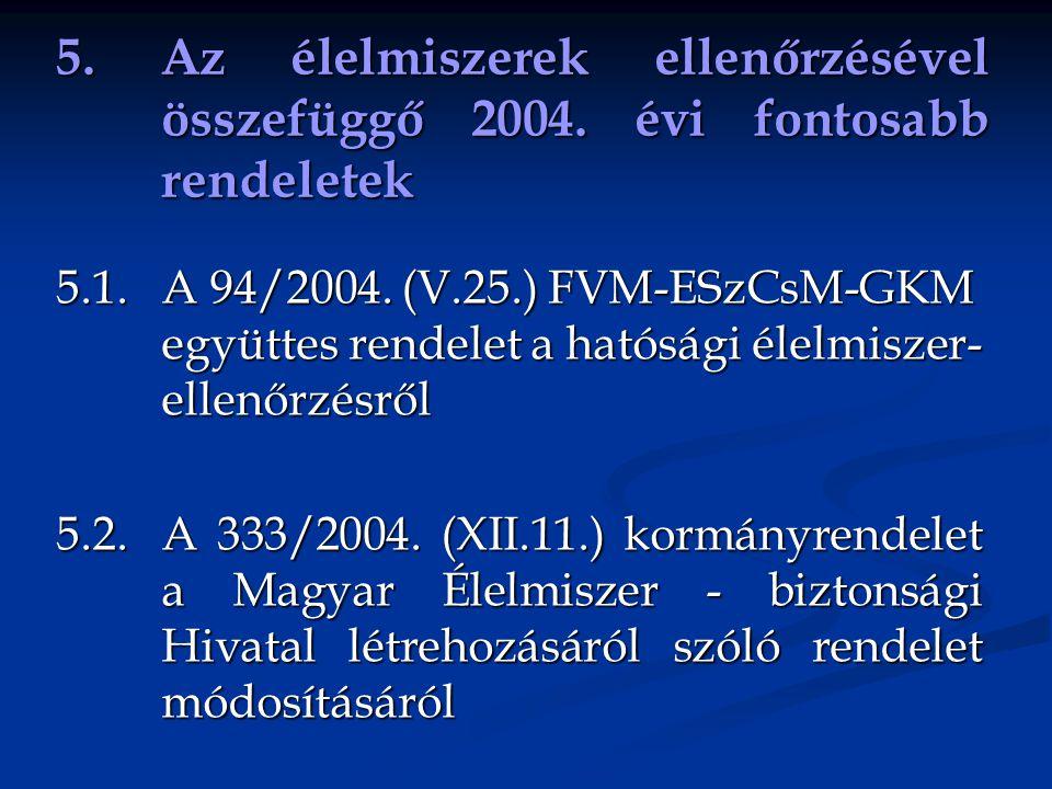 5. Az élelmiszerek ellenőrzésével. összefüggő 2004. évi fontosabb
