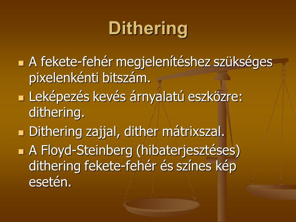 Dithering A fekete-fehér megjelenítéshez szükséges pixelenkénti bitszám. Leképezés kevés árnyalatú eszközre: dithering.