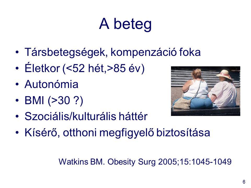 A beteg Társbetegségek, kompenzáció foka