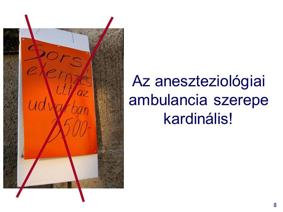 Az aneszteziológiai ambulancia szerepe kardinális!