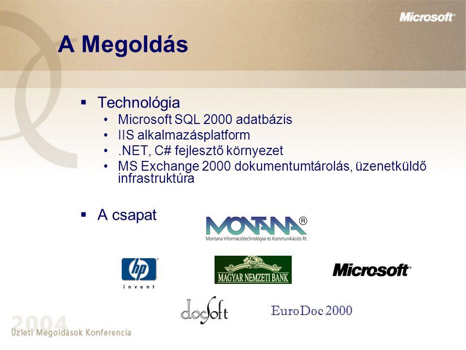 A Megoldás Technológia A csapat Microsoft SQL 2000 adatbázis