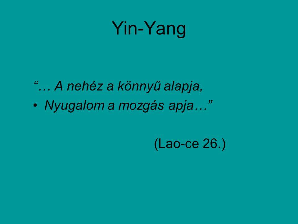 Yin-Yang … A nehéz a könnyű alapja, Nyugalom a mozgás apja…