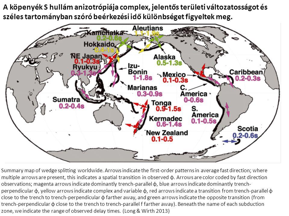 A köpenyék S hullám anizotrópiája complex, jelentős területi változatosságot és széles tartományban szóró beérkezési idő különbséget figyeltek meg.