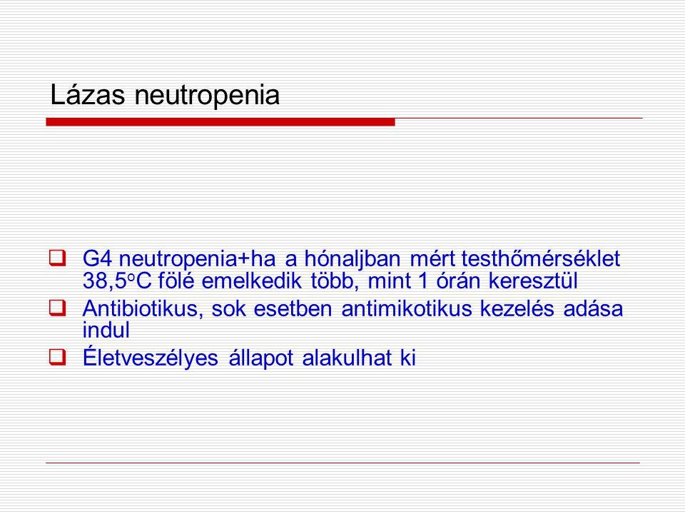 Lázas neutropenia G4 neutropenia+ha a hónaljban mért testhőmérséklet 38,5oC fölé emelkedik több, mint 1 órán keresztül.