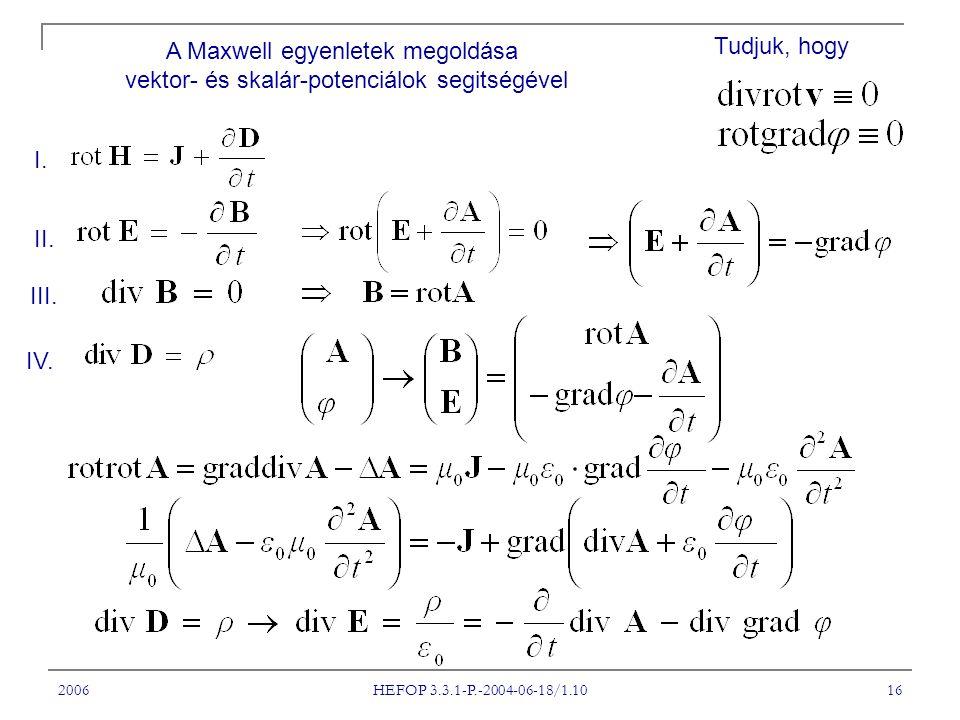 A Maxwell egyenletek megoldása